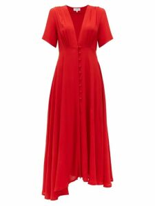 Gioia Bini - Carolina V Neck Crepe Midi Dress - Womens - Red