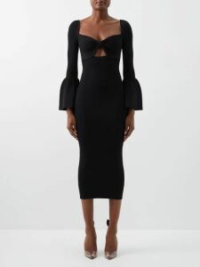 Ganni - Shirred Leopard Print Cotton Blend Maxi Dress - Womens - Leopard