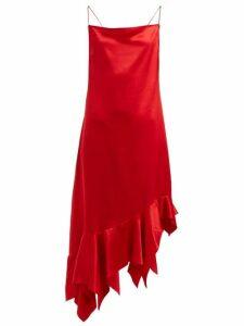 Marques'almeida - Asymmetric Silk Satin Midi Dress - Womens - Red
