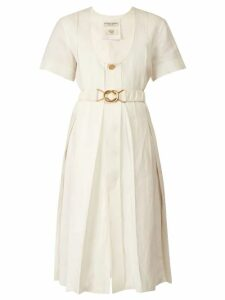 Bottega Veneta - Belted Pleated Midi Dress - Womens - White