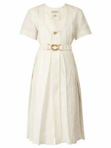 Bottega Veneta - Belted Pleated Midi Dress - Womens - White