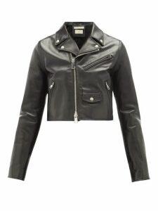 Bottega Veneta - Cropped Leather Biker Jacket - Womens - Black