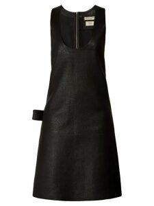 Bottega Veneta - Patch Pocket Leather Midi Dress - Womens - Black