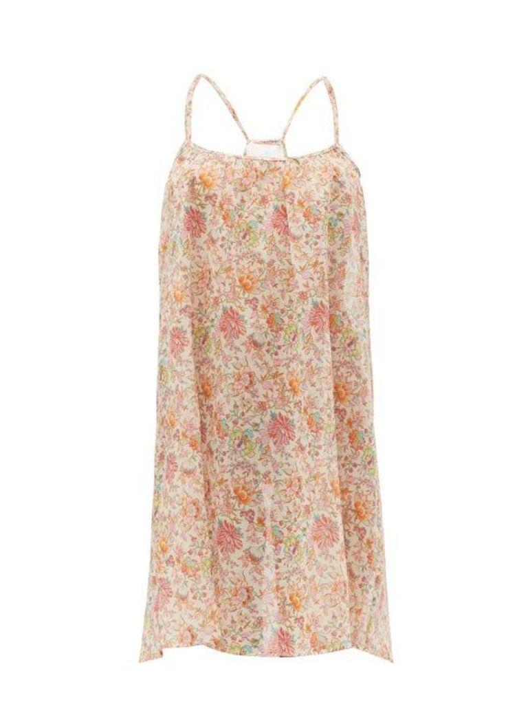 Loup Charmant - Floral Print Cotton Voile Slip Dress - Womens - Pink
