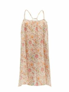 Loup Charmant - Floral Print Cotton Voile Slip Dress - Womens - Pink