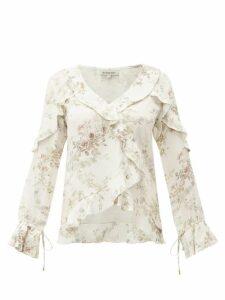 D'ascoli - Bedford Floral Print Ruffle Trim Silk Top - Womens - Beige