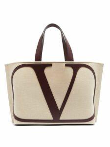 Valentino - V Logo Canvas Tote Bag - Womens - Cream Multi