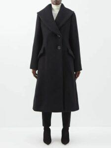 Cecilie Bahnsen - Mabel Ruffle Neck Pintuck Trim Taffeta Dress - Womens - Black