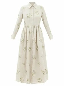 Zandra Rhodes - Tiered Abstract Print Silk Chiffon Midi Dress - Womens - Blue Print
