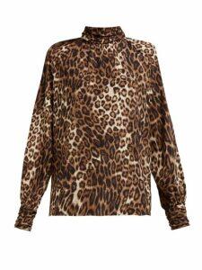 Nili Lotan - Alana Leopard Print Silk Shirt - Womens - Leopard