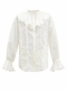 See By Chloé - Ruffled Collar Lace And Cotton Blouse - Womens - Ivory