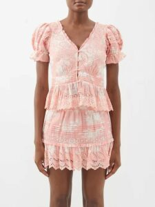 Ann Demeulemeester - Raw Trim Neck Cotton And Cashmere Blouse - Womens - Light Pink