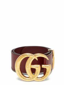 Gucci - Gg Snakeskin Effect Logo Wide Leather Belt - Womens - Burgundy