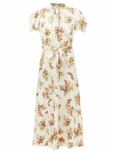 Maison Margiela - Kick Flare Herringbone Wool Cropped Trousers - Womens - Light Grey