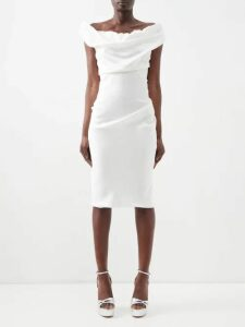Valentino - V Neck Pleated Leather Gown - Womens - Red