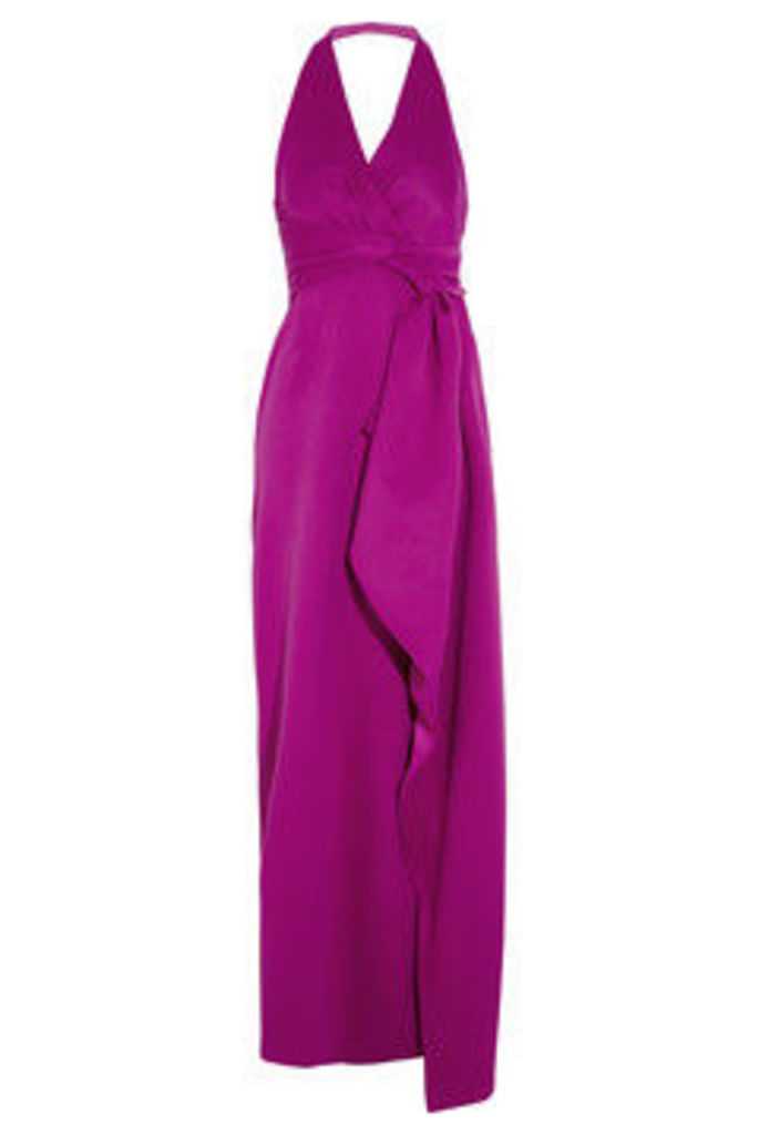 Draped double-faced satin gown