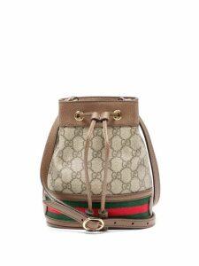 Gucci - Ophidia Mini Gg & Web Stripe Canvas Bucket Bag - Womens - Grey Multi