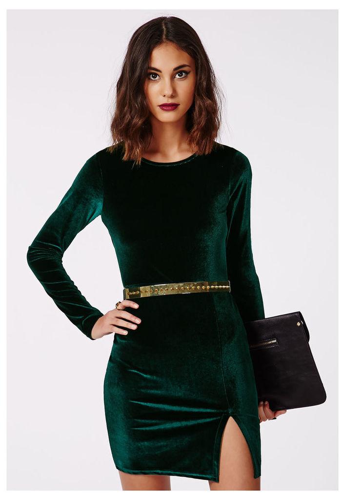 Velvet Bodycon Dress Green, Green