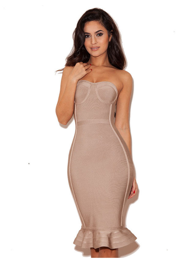 'Oman' Nude Strapless Bandage Dress with Fluted Hem