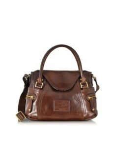 The Bridge Designer Handbags, Icons Gaucho Small Leather Satchel w/Shoulder Strap