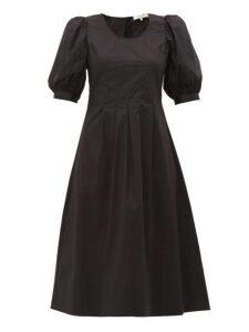 Sea - Luna Puffed Sleeve Cotton Blend Dress - Womens - Black