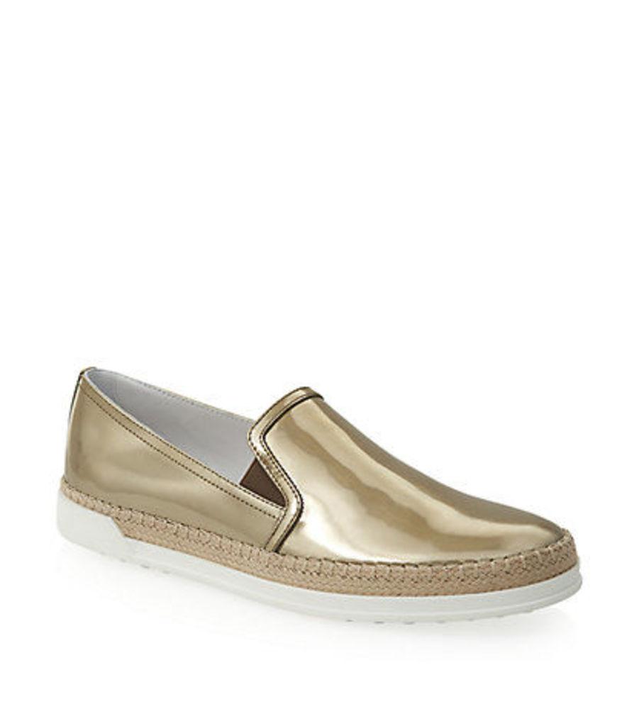 Leather Slip-On Sneaker Gold
