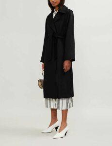 Max Mara Ladies Black Elegant Manuela Camel-Hair Wrap Coat