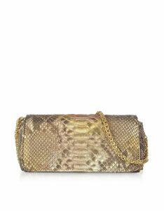 Ghibli Designer Handbags, Golden Python Leather Small Shoulder Bag