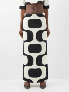 Alessandra Rich - Belted Pineapple Print Cotton Blend Gown - Womens - Green Multi