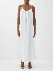 Romance Was Born - Bloom Ruffled Plissé Midi Skirt - Womens - Dark Red