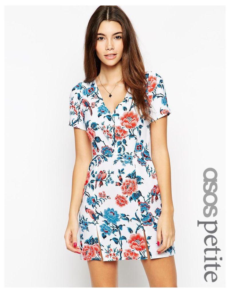 ASOS PETITE EXCLUSIVE Tea Dress in Floral Print with Split detail - Multi