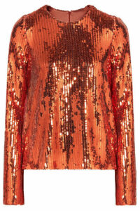 Galvan - Clara Sequined Tulle Top - Bronze