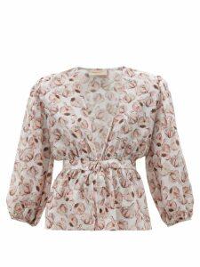 Adriana Degreas - Aglio Print Tie Front Silk Charmeuse Blouse - Womens - White Print
