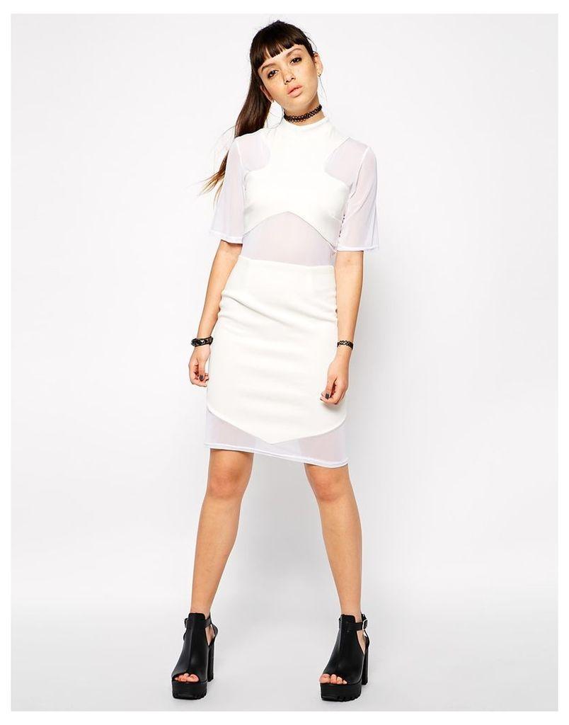 Bill + Mar White Mesh Cut Up Dress - White