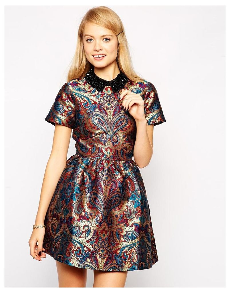 ASOS Skater Dress with Embellished Collar in Jacquard - Multi