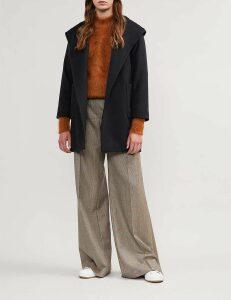 Max Mara Ladies Blue Patch Pocket Timeless Rialto Camel Hair Coat