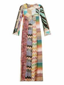 Missoni - Lace And Patchwork Kaftan Maxi Dress - Womens - Pink Multi
