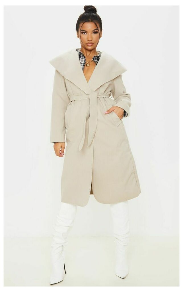 Veronica Beige Oversized Waterfall Belt Coat, Camel
