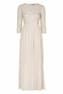 Womens **Embellished Maxi Dress by TFNC - Cream, Cream
