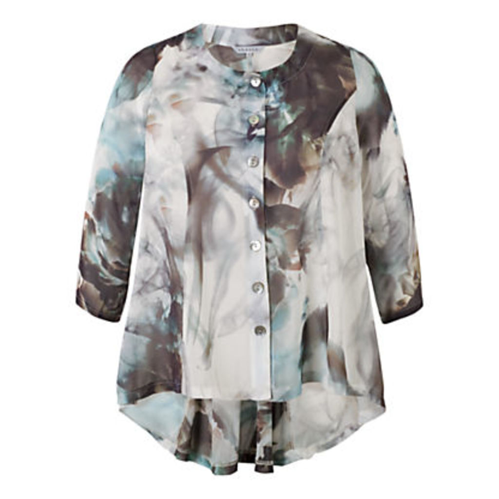 Chesca Abstract Print Top, Grey/Turquoise