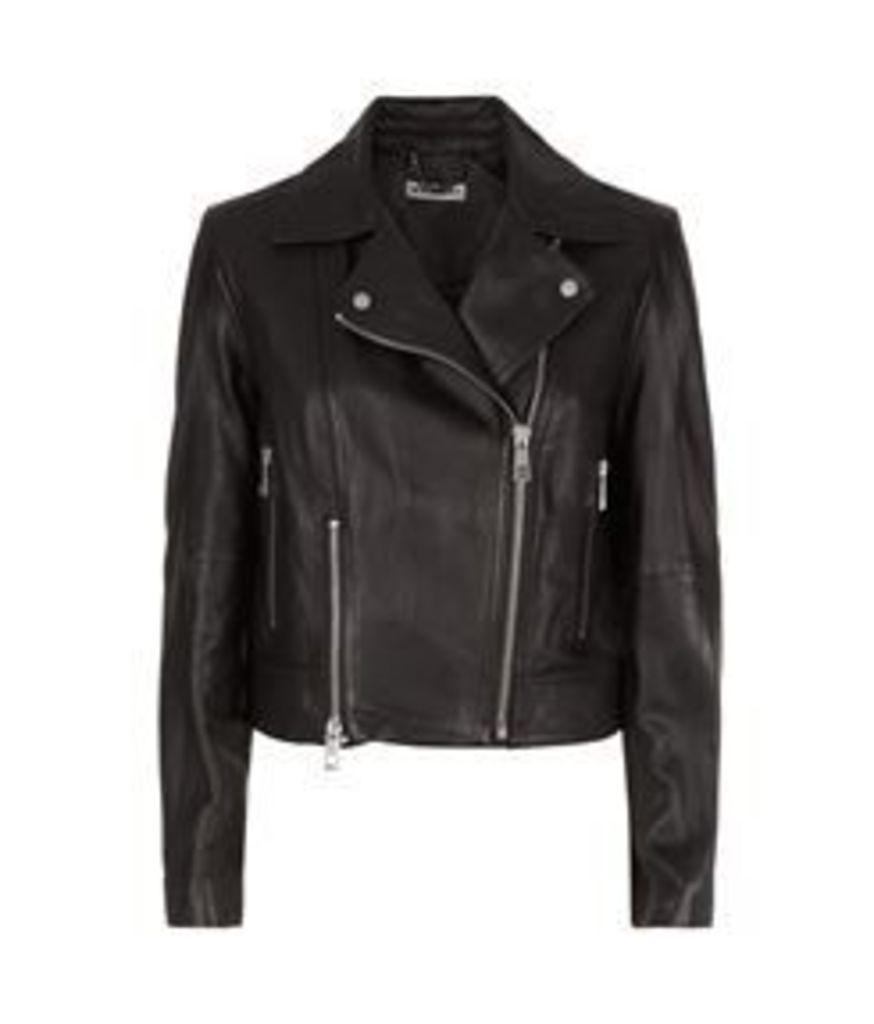 Cara Cropped Leather Biker Jacket Black