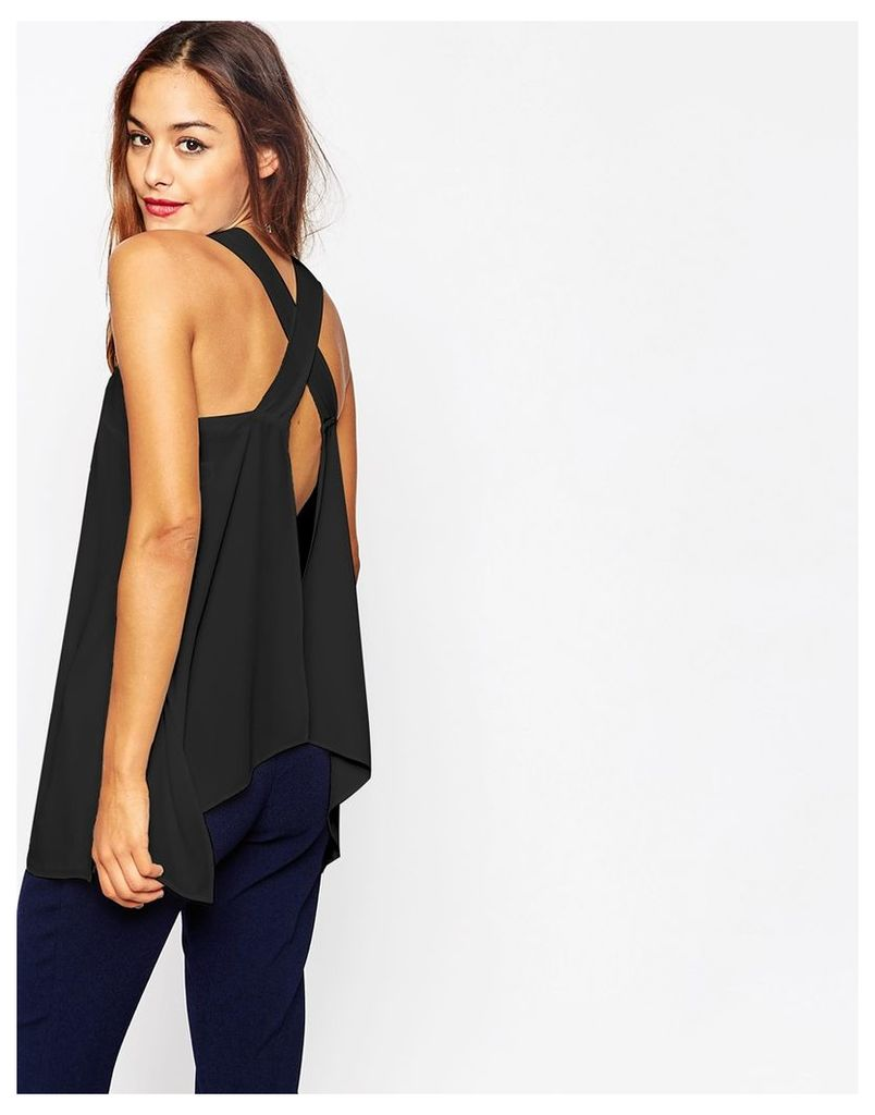 ASOS Thick Strap Cami with Open Back - Black