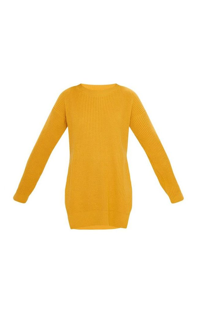 Rexx Mustard Round Neck Side Split Jumper, Yellow