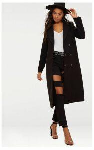 Black Longline Double Breast Coat, Black