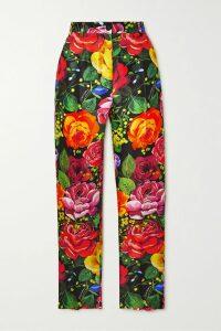 Philosophy di Lorenzo Serafini - One-shoulder Floral-print Velvet Mini Dress - Black