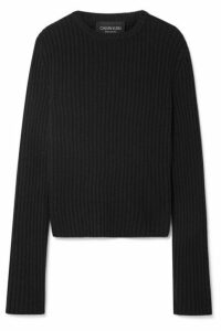 CALVIN KLEIN 205W39NYC - Striped Ribbed Wool-blend Sweater - Black