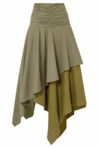 Loewe - Asymmetric Ruffled Poplin And Linen Skirt - Army green