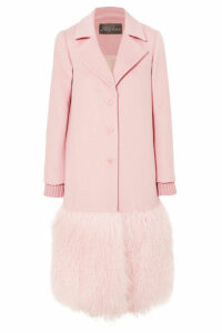 Lela Rose - Shearling-trimmed Wool Coat - Pink