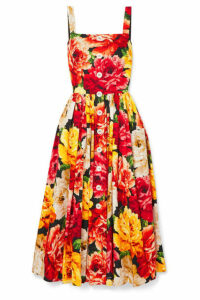 Dolce & Gabbana - Floral-print Cotton-poplin Midi Dress - Orange
