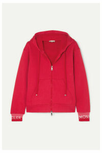 Moncler - Intarsia-trimmed Cotton-blend Jersey Hoodie - Red
